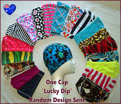 1x LYCRA SWIM CAP - Lucky Dip RANDOM DESIGN Adult / Kids Childs Swimming Hat NEW Lycra Swim Cap