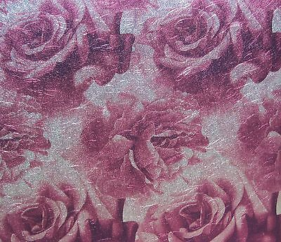 YORK SPARKLE GLITZ PURPLE & SILVER FLORAL / ROSES wallpaper