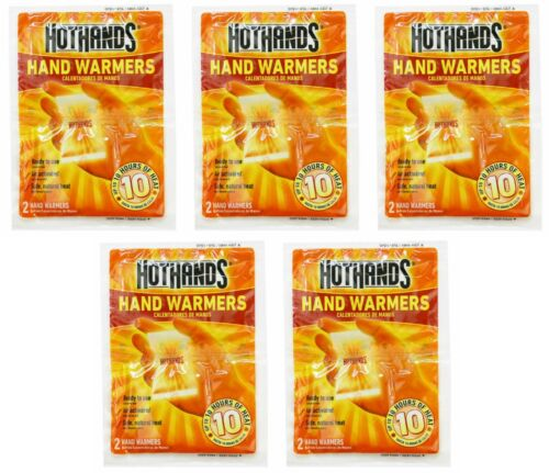 5 PAIRS OF HOTHANDS HAND WARMERS, UP TO 10 HOURS OF HEAT PER PAIR