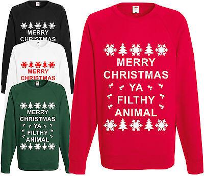 Merry Christmas Ya Filthy Animal Sweatshirt Novelty Funny Jumper Xmas Pullover ()