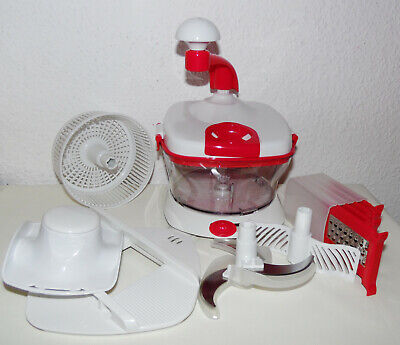 Neu Chop King Küchenmaschine Rot/Mixen,Schlagen,Hacken,Pürieren/Reibe Raspel QVC
