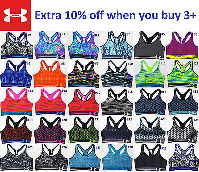NEW Under Armour Women Mid Printed Sports Bra Top Yoga Gym F