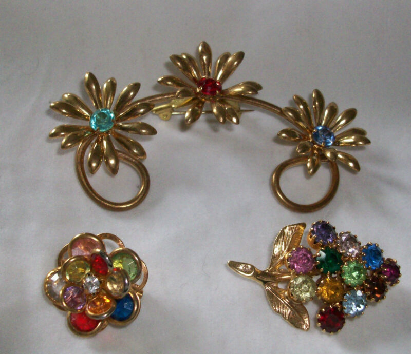 3 Pins Brooches Multicolor Rhinestones Floral Goldtone Metal Prong Set Georgous