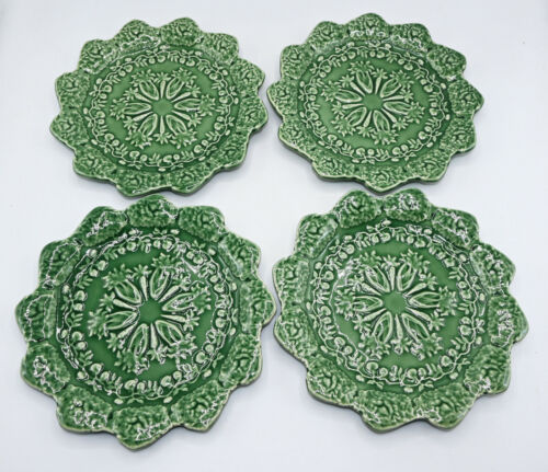"Bordallo Pinheiro Briar Patch Green Pottery Easter Bunny 8"" Salad Plate Set of 4"