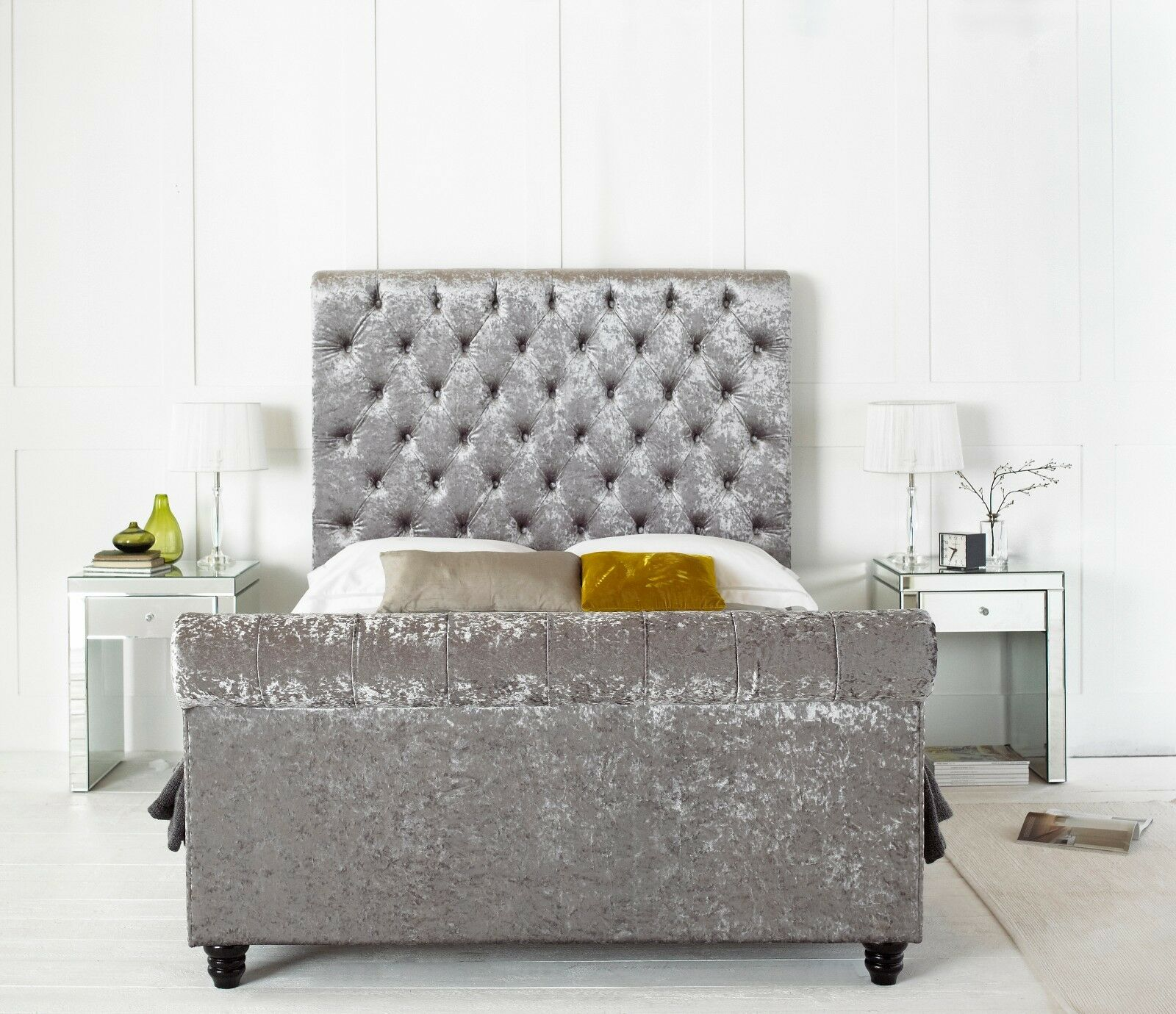 grey upholstered sleigh bed. Majestic Crushed Velvet Chesterfield Upholstered Sleigh Bed Frame 5FT King Size Grey
