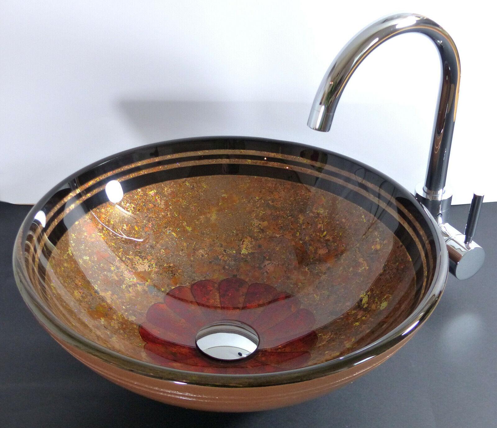 Aufsatz Glas Waschbecken Antik Design Venezia rund Waschschale Waschtisch Bad WC