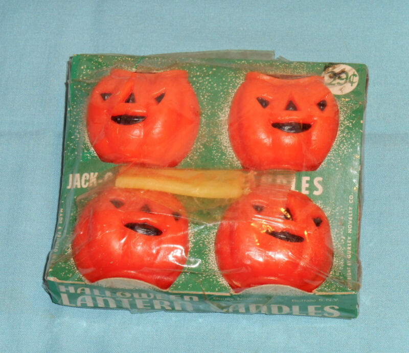 vintage Halloween GURLEY CANDLES IN PACKAGE jack-o-lanterns