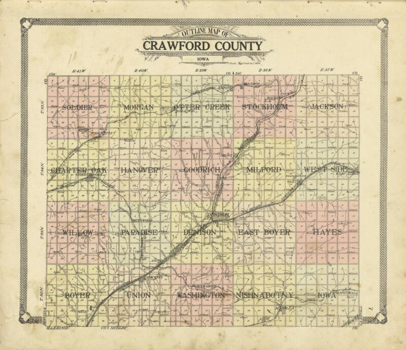 1908 ATLAS CRAWFORD COUNTY IOWA plat map GENEALOGY history LAND OWNERS DVD P129