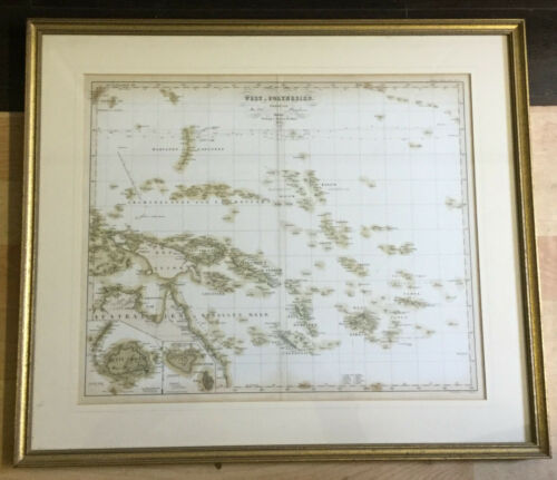 Framed Antique 1854 Map of Western Polynesia