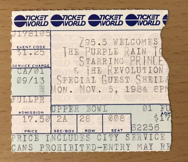 1984 PRINCE & THE REVOLUTION PURPLE RAIN TOUR 11/5 DETROIT CONCERT TICKET STUB