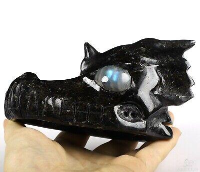 "5.1"" RUSSIAN ARFVEDSONITE Carved Crystal Dragon Skull, Labradorite Eyes"