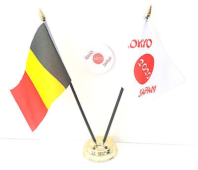 Belgium & Tokyo Japan Olympics 2020 Friendship Desk Flags & 59mm BadgeSet