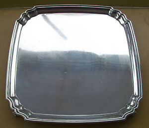 Quality Antique George V sterling silver square salver, 1934, 667 grams