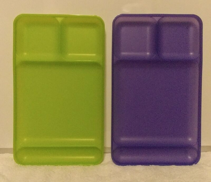 Tupperware Impressions Dining Trays Set (2) Berry Purple/Lime Green