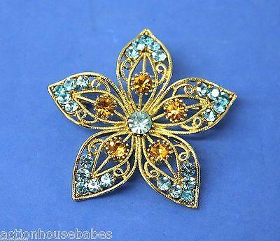 "Beautiful Vintage Flower Blue/Gold Rhinestone 2 1/4"" Wide Brooch Pin"