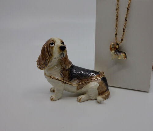 * WOW! BASSET HOUND DOG BEJEWELED TRINKET BOX WITH MATCHING NECKLACE *
