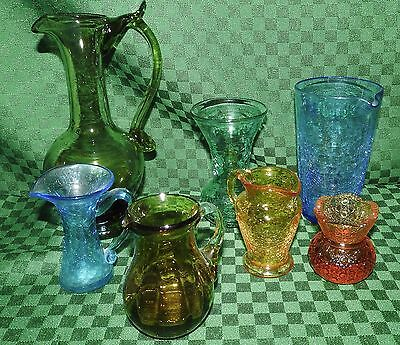 CRACKLE GLASS LOT OF 4 plus green, amber and, yellow