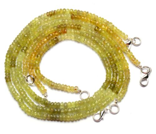 """Natural Gem Green Chrysoberyl 5mm Size Faceted Rondelle Beads Necklace 17"""""""