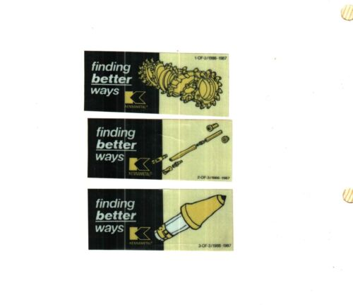 3 DIFFERENT NICE KENNAMETAL 1986-1987 COAL MINING STICKERS # 256