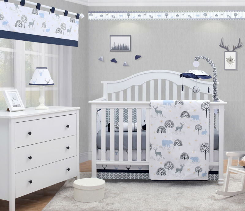 6-Piece Woodland Forest Deer Baby Boy Nursery Crib Bedding Sets By OptimaBaby