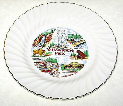 Vintage Yellowstone Park Wyoming Souvenir Collector Plate By Sheffield Gold Trim