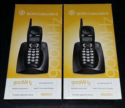 2 900 MHz GE Black Cordless Phones Model: 26943GE2-A Brand New in Original Box! 900 Mhz Cordless Phones