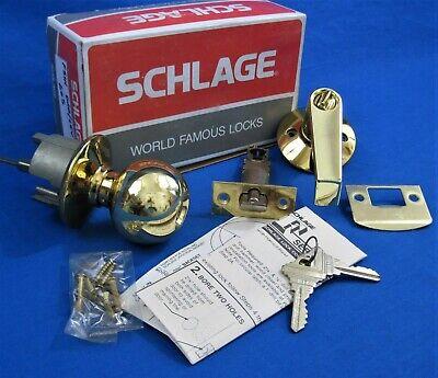 SCHLAGE Polished Brass Orbit Levon Entry Door Knob / Lever Set F51N ORB/LEV 605 Door Lever Set Polished Brass