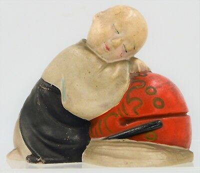 Japanese Miniature Statue Clay Doll Wabi Sabi Gosho Sleeping Boy Antique Hakata