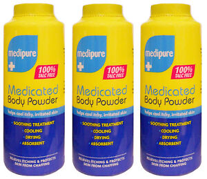 3 x 200g MEDIPURE MEDICATED BODY POWDER - Soothing Treatment 100% TALC FREE