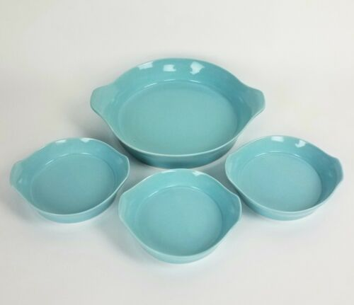 """RARE OVEN PROOF USA TURQUOISE 9"""" PIE DISH + 3 SMALL 5-1/2"""" QUICHE DISHES VINTAGE"""