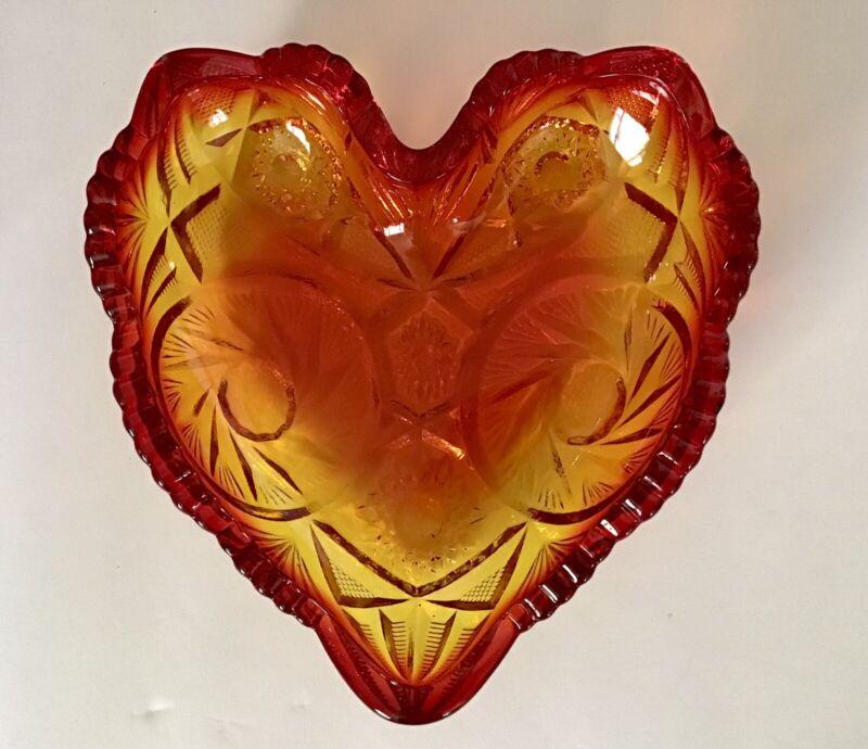 Vintage Fenton Amberina Glass Heart - Candy / Trinket Dish