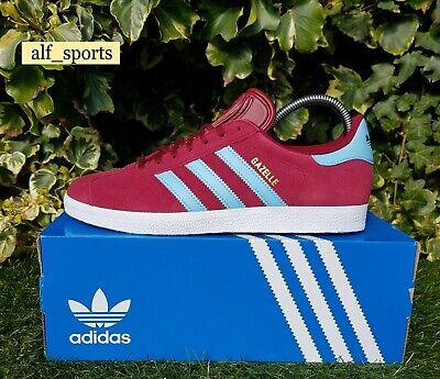 Adidas Originals Gazelle Trainers Claret & Blue West Ham Villa Burnley in UK 10