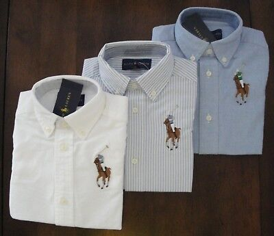 - NWT Ralph Lauren Boys Long Sleeved Big Pony Oxford Shirt 8 10/12 14/16 18/20 NEW