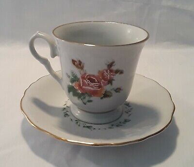 - Gibson Designs Victorian Rose Footed Cup and Saucer Set