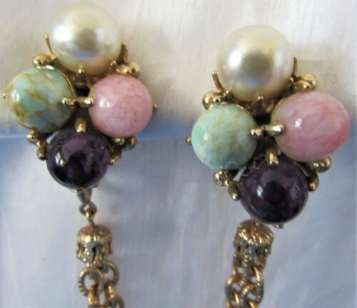 Vintage Glass Bead Violet Green Pink Sweater Dress Scarf Guard Clip (27