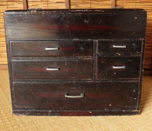 Japanese Wood Sewing Box 5 Drawers Chest Brown Haribako Vintage