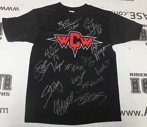 Hulk-Hogan-Ric-Flair-Sting-Bret-Hart-10-Signed-WCW-Champions-Shirt-PSA-DNA-WWE