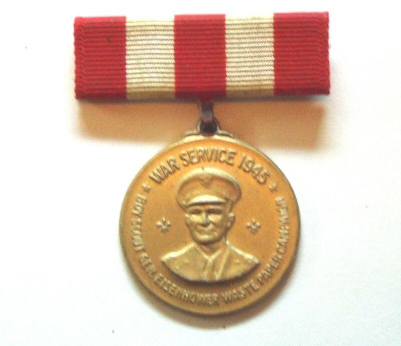 Boy Scout Eisenhower Campaign medal & Boys life Magazine Mar 1945