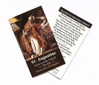 ST SAINT AUGUSTINE / HOLY SPIRIT Prayer Card - Wallet / Purse / Bookmark Size