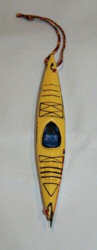 yellow kayak Christmas tree ornament