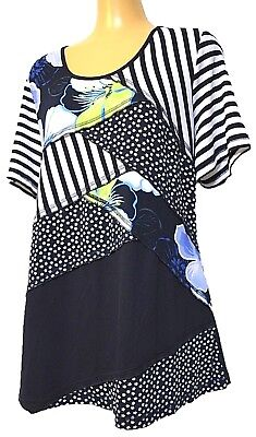 TS top TAKING SHAPE VIRTU plus sz XS / 14 Flora Mix Top stretch tee t-shirt NWT!