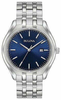 Bulova Men's Stainless Steel Bracelet Blue Dial Analogue Watch