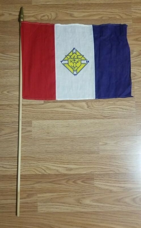 Vintage Knights Of Columbus Red White & Blue Flag