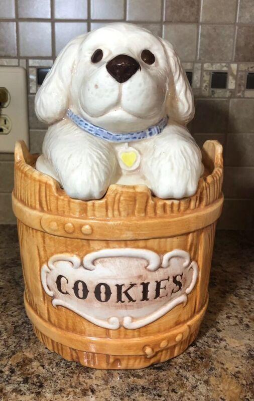 Treasure Craft Vintage White Puppy Cookie Jar Cute!