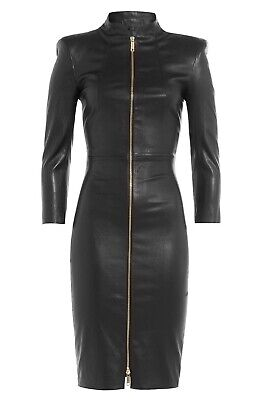 women cocktail genuine lambskin soft leather dress bodycon front zip stylist wow - Leather Square Cocktail