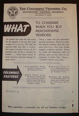 Columbus Vending Machine Co. Sales Brochure for Gumball Peanut Gum Machines - Gumballs For Sale