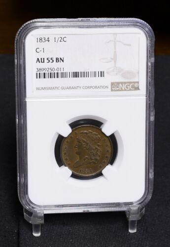 1834 Half Cent - C-1 - NGC AU55BN (#31473)