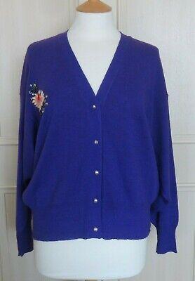 Vintage 80s Kansai Yamamoto Purple Cardigan Dragon Embroidery Mint Condition