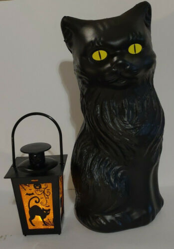 Halloween Black Cat Bank Blow Mold Decoration Yellow Eyes With Blk. Cat Lantern