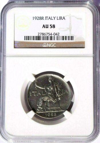 1928 R Italy 1 Lira, NGC AU 58, KM-62